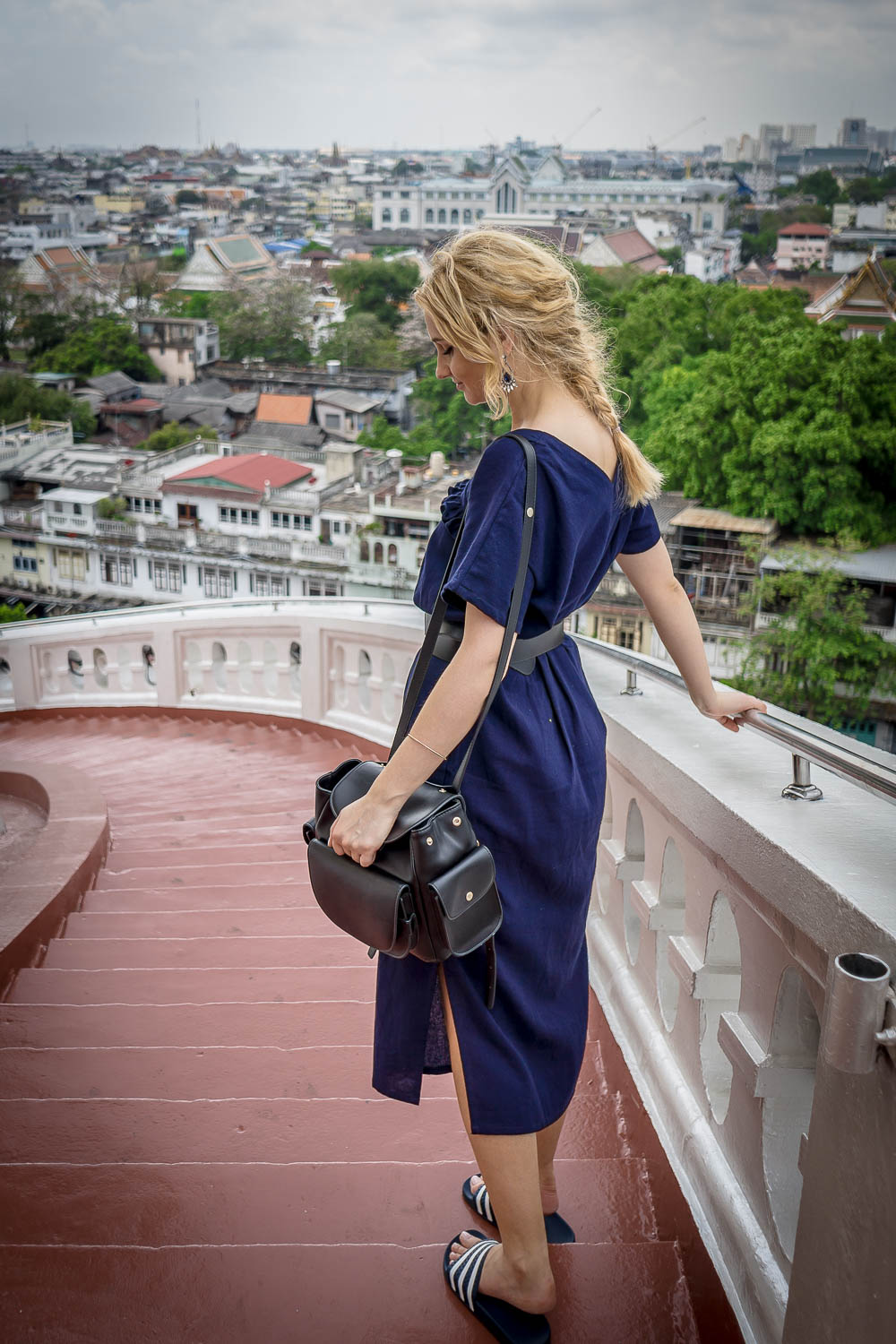 Blonde Girl Street Style Fashion Tumblr Navy Dress Lookbook Ootd Outfit Portrait Vogue Braid