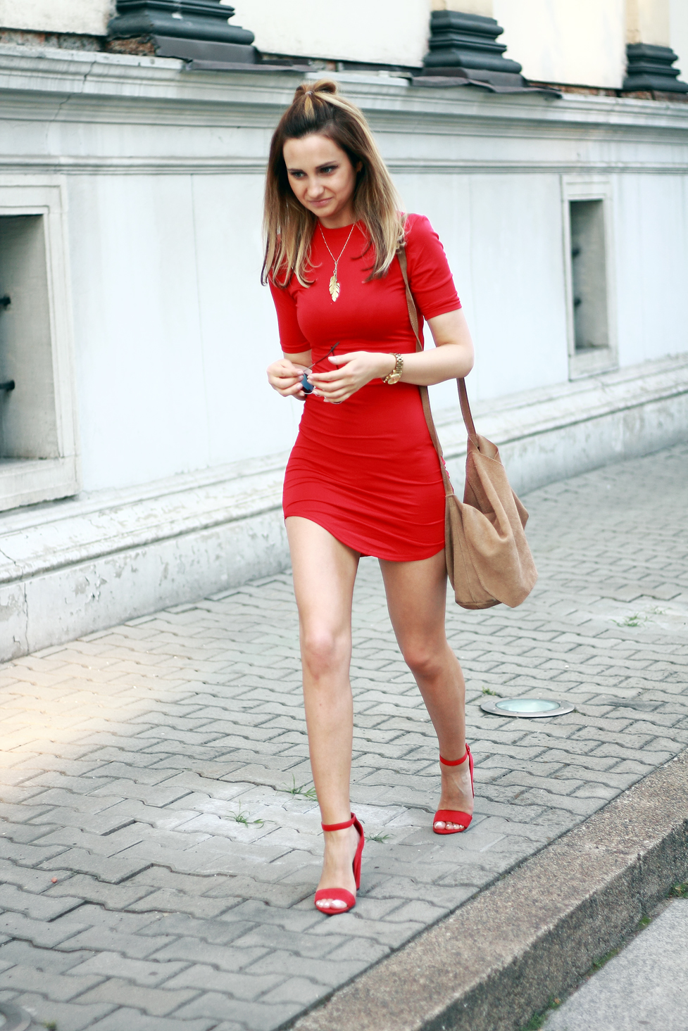 street style fashion red dress heels blonde girl tumblr ootd outfit lookbook look what to wear