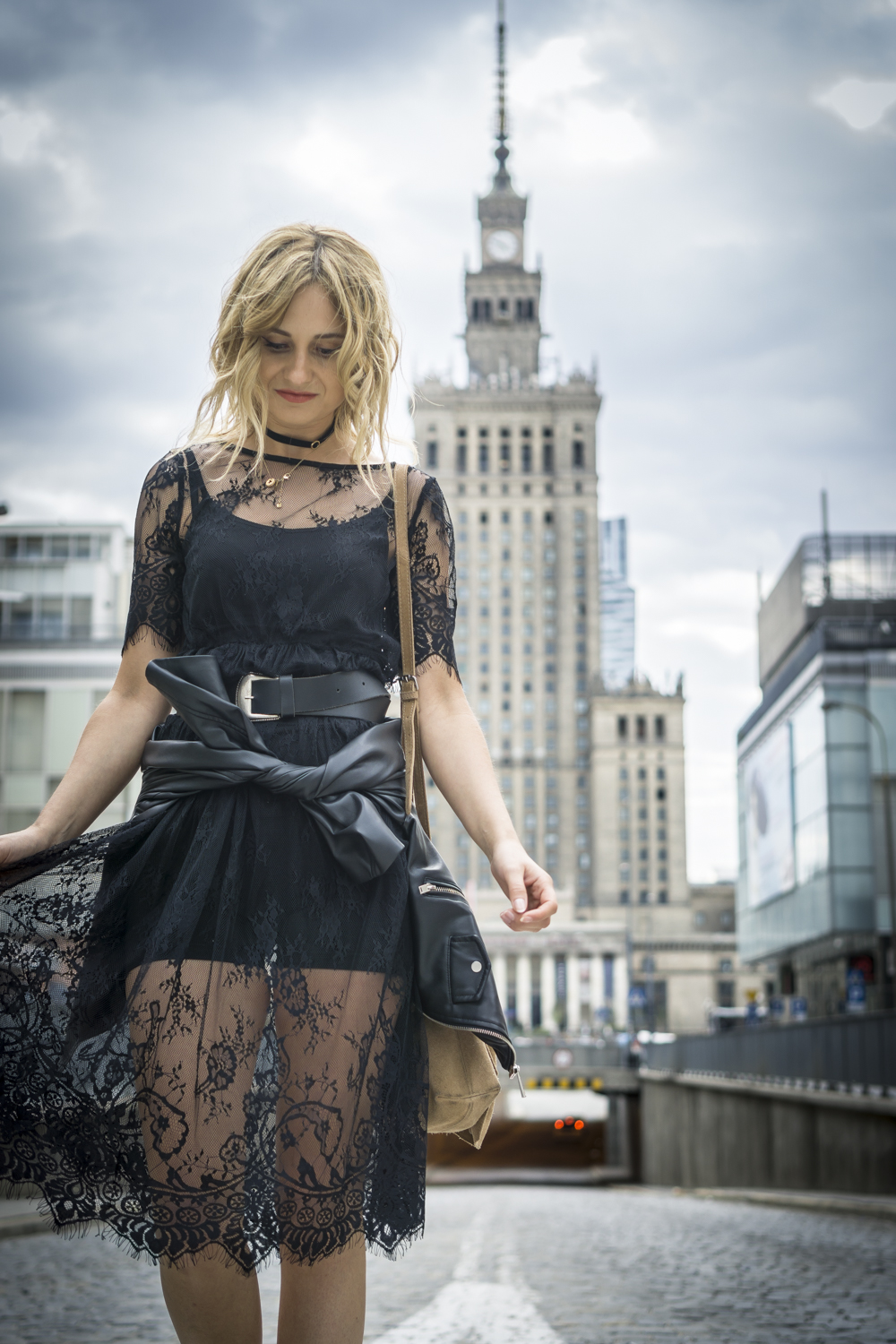 black lace dress casual chic street style fashion blonde tumblr girl look it girl lookbook ootd warsaw view