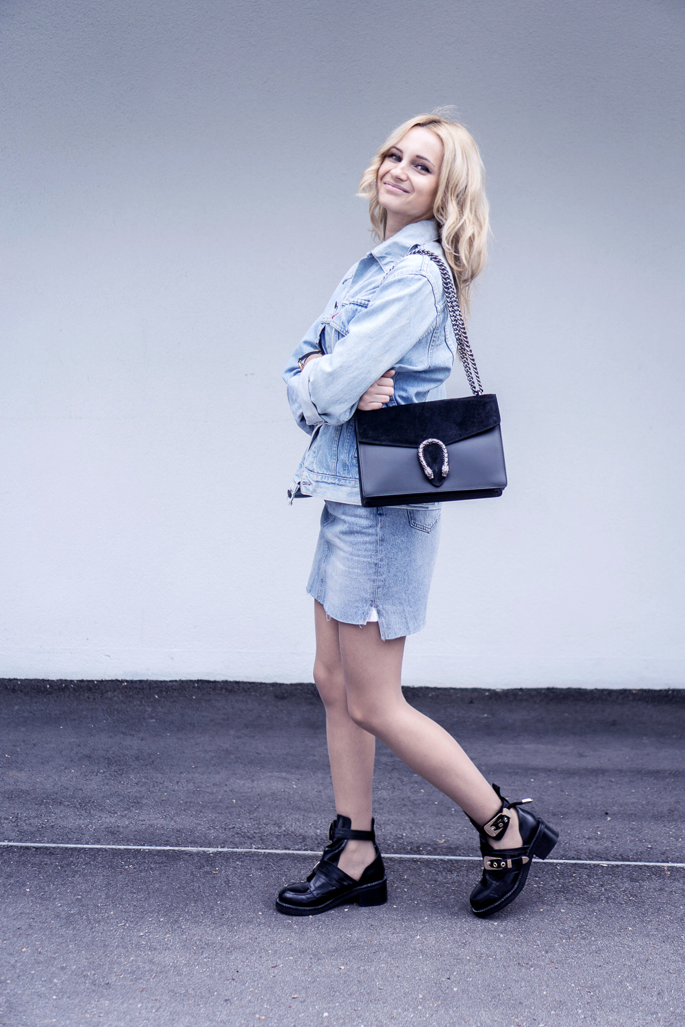 denim outfit skirt levis vintage jacket balenciaga shoes casual ootd street style fashion tumblr casual girl
