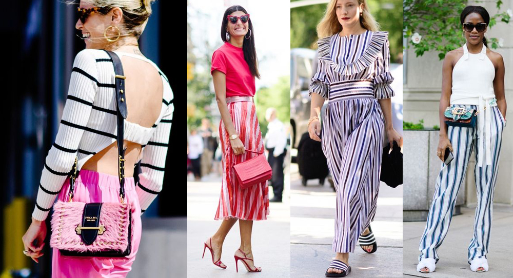 best street style moments nyfw ss2018 stripe skirt blouse all